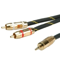 ROLINE GOLD Audio Connection Cable 3.5mm Stereo - 2 x Cinch (RCA), M/M, 10.0 m