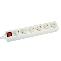 VALUE Power Strip, 6-way, with Switch, white, white, 6 m