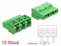 Delock Terminal block for PCB soldering version 3 pin 9.50 mm pitch vertical 10 pieces