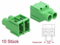 Delock Terminal block for PCB soldering version 2 pin 6.35 mm pitch vertical 10 pieces