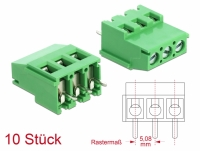 Delock Terminal block for PCB soldering version 3 pin 5.08 mm pitch vertical 10 pieces