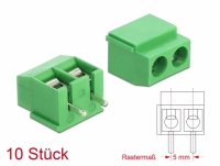Delock Terminal block for PCB soldering version 2 pin 5.00 mm pitch vertical 10 pieces