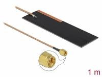 Delock LPWAN Antenna SMA plug 1 - 2 dBi RG-178 1 m PCB internal self adhesive