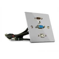 Lindy Single Gang VGA, HDMI, USB and Audio Wall Plate, Metal