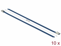Delock Stainless Steel Cable Ties L 200 x W 4.6 mm blue 10 pieces