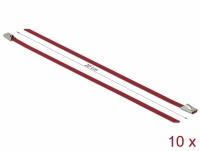 Delock Stainless Steel Cable Ties L 200 x W 4.6 mm red 10 pieces