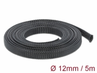 Delock Braided Sleeving stretchable 5 m x 12 mm black
