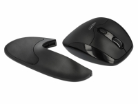 Delock Ergonomic optical 5-button mouse 2.4 GHz wireless with Wrist Rest - right handers
