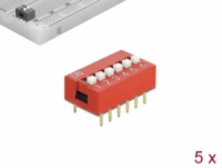Delock DIP sliding switch 6-digit 2.54 mm pitch THT vertical red 5 pieces