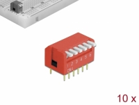 Delock DIP flip switch piano 6-digit 2.54 mm pitch THT vertical red 10 pieces