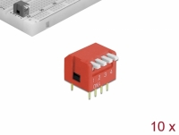 Delock DIP flip switch piano 4-digit 2.54 mm pitch THT vertical red 10 pieces