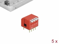 Delock DIP flip switch piano 4-digit 2.54 mm pitch THT vertical red 5 pieces