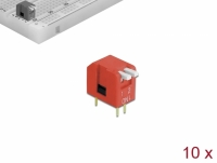 Delock DIP flip switch piano 2-digit 2.54 mm pitch THT vertical red 10 pieces