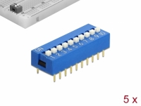 Delock DIP sliding switch 10-digit 2.54 mm pitch THT vertical blue 5 pieces