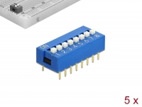 Delock DIP sliding switch 8-digit 2.54 mm pitch THT vertical blue 5 pieces