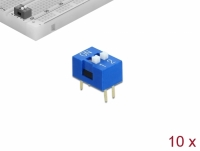 Delock DIP sliding switch 2-digit 2.54 mm pitch THT vertical blue 10 pieces