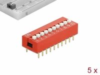 Delock DIP sliding switch 10-digit 2.54 mm pitch THT vertical red 5 pieces