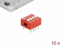 Delock DIP sliding switch 4-digit 2.54 mm pitch THT vertical red 10 pieces