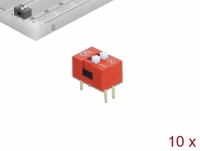 Delock DIP sliding switch 2-digit 2.54 mm pitch THT vertical red 10 pieces