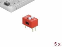 Delock DIP sliding switch 2-digit 2.54 mm pitch THT vertical red 5 pieces