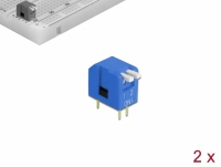 Delock DIP flip switch piano 2-digit 2.54 mm pitch THT vertical blue 2 pieces