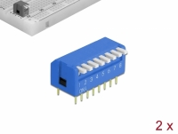 Delock DIP flip switch piano 8-digit 2.54 mm pitch THT vertical blue 2 pieces