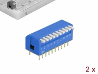Delock DIP flip switch piano 10-digit 2.54 mm pitch THT vertical blue 2 pieces
