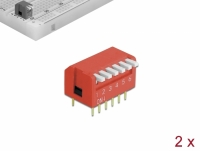 Delock DIP flip switch piano 6-digit 2.54 mm pitch THT vertical red 2 pieces