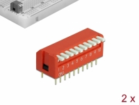 Delock DIP flip switch piano 10-digit 2.54 mm pitch THT vertical red 2 pieces