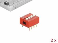 Delock DIP sliding switch 4-digit 2.54 mm pitch THT vertical red 2 pieces