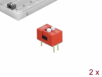 Delock DIP sliding switch 2-digit 2.54 mm pitch THT vertical red 2 pieces