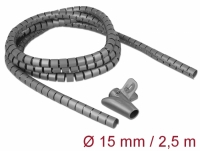 Delock Spiral Hose with Pull-in Tool 2.5 m x 15 mm grey