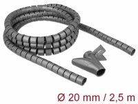 Delock Spiral Hose with Pull-in Tool 2.5 m x 20 mm grey