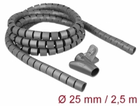 Delock Spiral Hose with Pull-in Tool 2.5 m x 25 mm grey