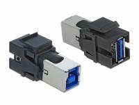 Delock Keystone Module USB 3.0 A female > USB 3.0 B female black