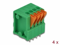 Delock Terminal block with push button for PCB 4 pin 2.54 mm pitch vertical 4 pieces