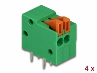 Delock Terminal block with push button for PCB 2 pin 2.54 mm pitch horizontal 4 pieces