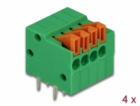Delock Terminal block with push button for PCB 4 pin 2.54 mm pitch horizontal 4 pieces