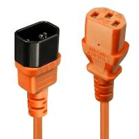 Lindy IEC Extension Cable, Orange, 1m