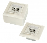 Lindy Cat.6A 2x RJ45 wall outlet White, horizontal entry