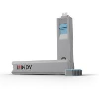 Lindy USB Type C Port Blocker 4pcs with Key, blue