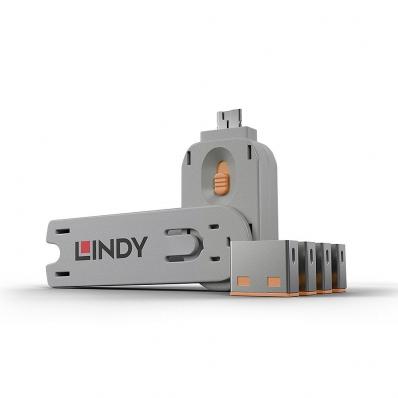 Lindy USB Port Blocker - Pack of 4, Colour Code Orange