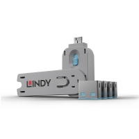 Lindy USB Port Blocker - Pack of 4, Colour Code: Blue