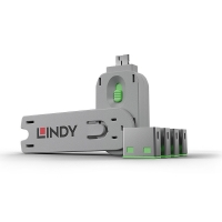 Lindy USB Port Blocker - Pack of 4, Colour Code: Green