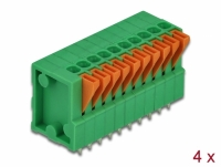 Delock Terminal block with push button for PCB 10 pin 2.54 mm pitch vertical 4 pieces