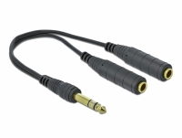 Delock Audio Splitter 6.35 mm 1 x male to 2 x female 3 pin black 25 cm