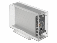 Delock External Dual Enclosure for 2 x 3.5″ SATA HDD with USB Type-C™ female transparent - tool free