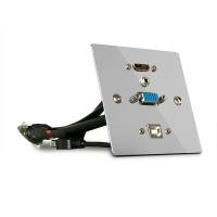 Lindy Single Gang VGA, HDMI, USB and Audio Wall Plate, Metal