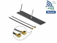 Delock WLAN 802.11 ac/ax/a/h/b/g/n Twin Antenna 2 x MHF® I plug 2.2 – 4.0 dBi 2 x 15 cm PCB internal self adhesive