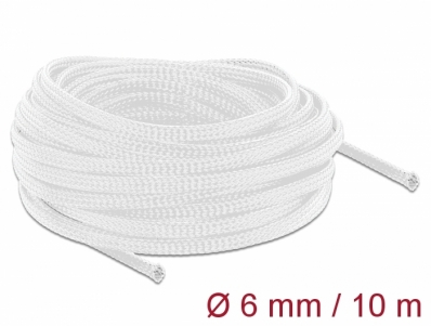 Delock Braided Sleeving stretchable 10 m x 6 mm white